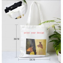 fashion canvas tote bags with zipper  for women female with your custom photo or design or logo