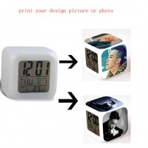 Toy Kids Led Alarm Clock with customized design picture or photo  7 colors change Children Gift