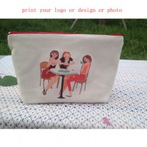 canvas Cosmetic bags coin purse Cosmetic Bag makeup bags wallet with your custom photo or design or logo size: 21*16*12cm