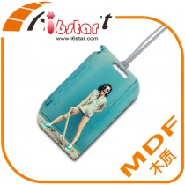 MDF Luggage Tag label gifts  with customized photo or design or print head portrait by hermal transfer printing