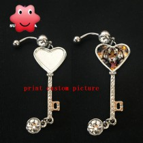 Metal Navel Belly Ring with your custom personalized photo or design or logo Belly Rings  for women men gift