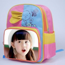 schoolbag for girls boys kids  with your kids custom photo or design or text name Big ears Bunny
