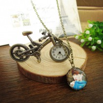 vintage retro necklaces pendants bicycle necklace pendant put your photo or design bicycle jewelry Retail customization