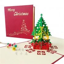 Christmas gift Cards & Invitations three-dimensional Christmas tree can print company logo or greeting