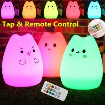 7 colour silicone animal lamp sleeping animal cat night light  for kids baby room Christmas gifts Remote control