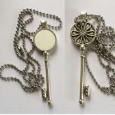 blank flower key necklaces pendants for sublimation retro vintage
