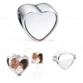 sublimation blank heart photo bead metal Slider big hole 5MM euro